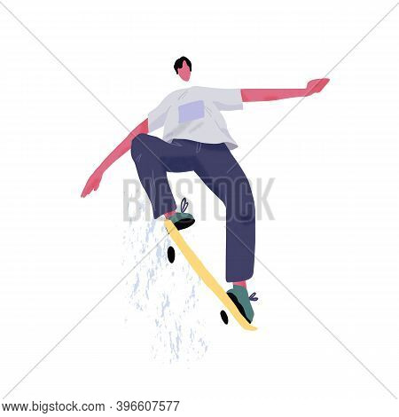 Modern Skateboarder Jumping And Showing Tricks With Skateboard. Young Skater With Longboard. Extreme