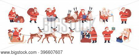 Set Of Xmas Santa Claus Character Riding Reindeer Sleigh, Carrying Bag With Presents, Putting Gifts
