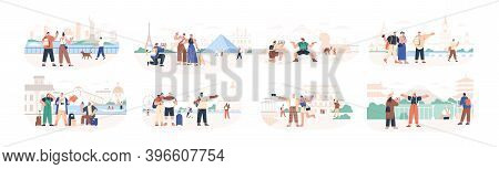 Set Of Traveling People Visiting Famous City Landmarks And Attractions. Collection Of Tourists Going