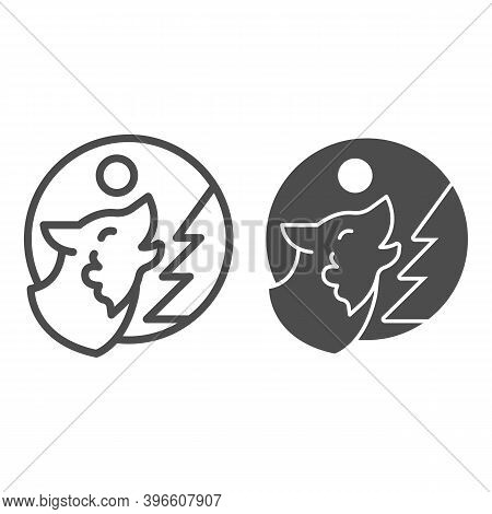 Wolf Howling At Moon Near Tree Line And Solid Icon, Halloween Concept, Predator In Forest Sign On Wh