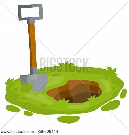 Shovel On Green Lawn. Digging Hole In Garden. Bed And Tool Of Farmer.