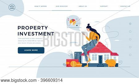Property Investment Homepage Template. Woman Sitting On The House, Calculates Income From Real Estat