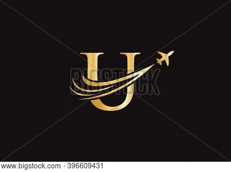 Air Travel U Logo Design With U Letter. Letter U Air Travel Logo Design Template.