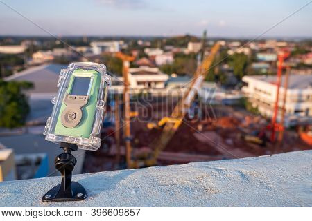 Camera Shooting Time Lapse Video Construction Weather Resistant In The Construction Area.