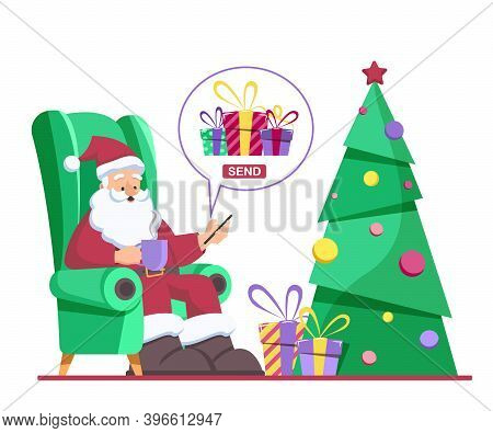 Santa Claus sits in a chair and sends christmas gifts in the phone app. Merry christmas and happy new year concept.  Merry Christmas card. Merry Christmas card vector Illustration.Christmas. Christmas Vector. Christmas Background. Merry Christmas Vector.