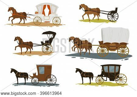 Horses With Carriage, Transport In Past Vector