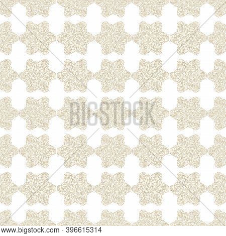 Seamless Pattern. Stylized Snowflakes, Flowers Or Stars On A White Background. Ornate Scrollwork. Ha