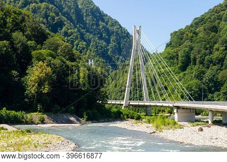 Cable-stayed Bridge Expressway Over Mountain River Among The Mountain Area.
