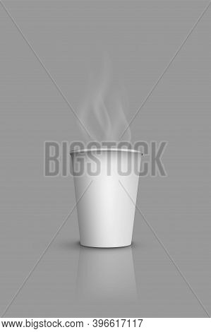 Paper Cup For Coffee Or Hot Tea With Steam. Takeaway Caffeine From Cafe In White Container Vector Il