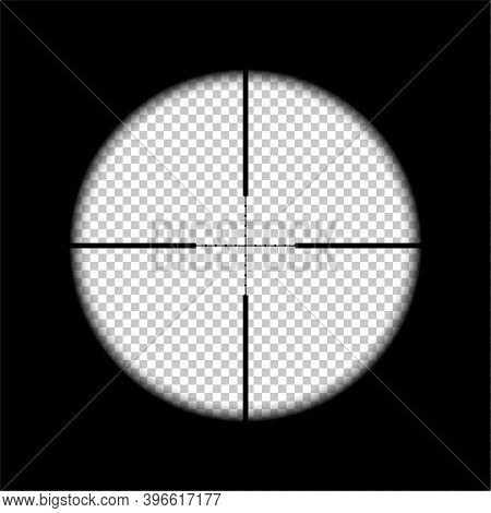 Aiming For Target On Rifle Black Background. Sight View Of Sniper Vector Illustration. Optical Cross