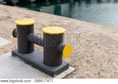 Mooring Bollard On A Wharf, To Which A Ships Rope May Be Secured.