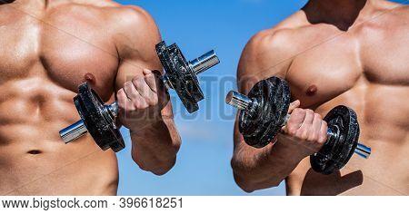Strong Bodybuilder, Perfect Deltoid Muscles. Dumbbell. Muscular Bodybuilder Guys, Exercises With Dum
