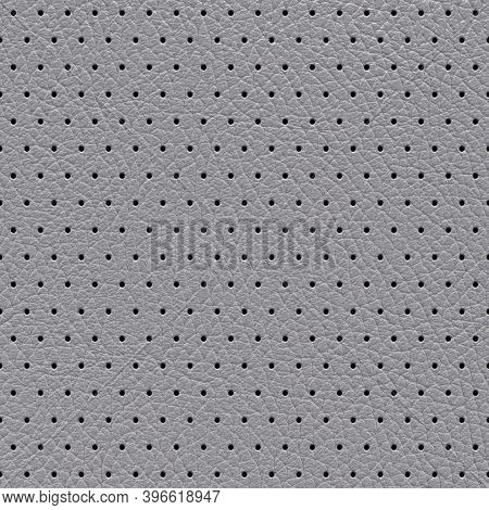 Perforated Leather Abstract Gray Background, Texture With Regular Perforated Dots. 3d-rendering