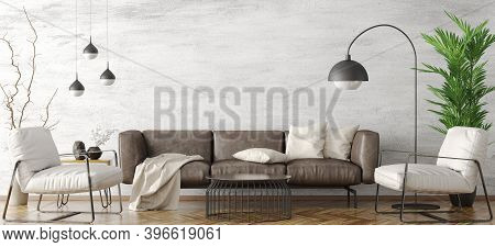 Modern Interior Design Of Apartment, Living Room With Brown Sofa And White Armchairs, Home 3d Render