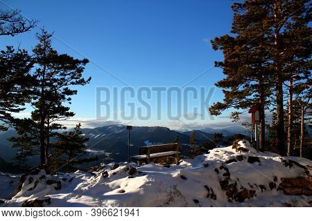 Perfect Winter Hiking Day: Beautiful View From Vista Point Kleine Kanzel At Hohe Wand Mountain In Lo