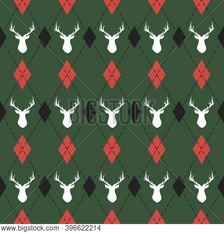 Christmas And New Year Pattern Argyle With Deers. Plaid In Black, Red Rhombuses And Deers. Scottish