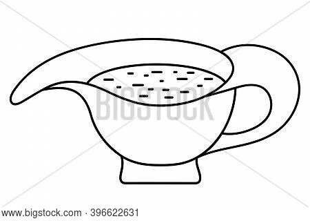 Sauce Bowl. Vector Illustration. Outline On An Isolated White Background. Doodle Style. Sketch. Trad