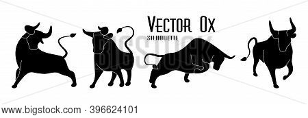 Bull Set. Black Silhouettes Of Ox On Isolated White. Stylized Icons Of Buffalo Standing In Different