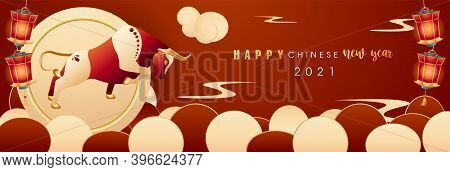 Happy Chinese New Year Banner Template With Bull. Oriental Ox Is Symbol Of Coming Year 2021. Card Fo