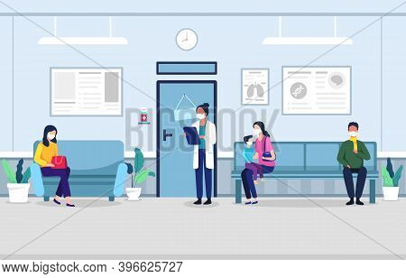 People In Clinic Waiting Room. People Sitting On Chairs And Waiting Appointment Time In Medical Hosp