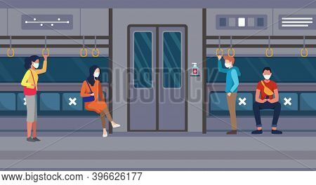 People Go By Public Transport With Health Protocol. People On The Train Wearing Face Mask And Mainta