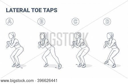 Lateral Toe Taps Female Home Workout Exercise Guidance.