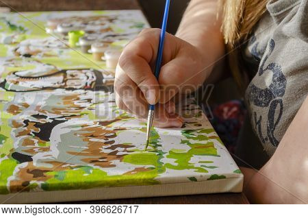 Active Leisure At Home, Creative Hobby Concept. Hands Of An Adult Woman Painted With Brush Picture O