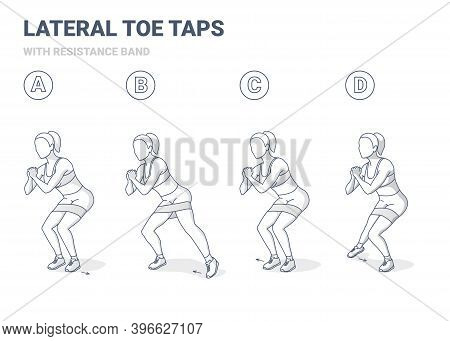 Lateral Toe Taps With Resistance Band Girl Home Workout Exercise Guidance.