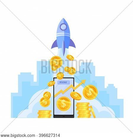 Income Growth Or Money Revenue Increase Vector Illustration With Launching Rocket, Dollar Coins Stac