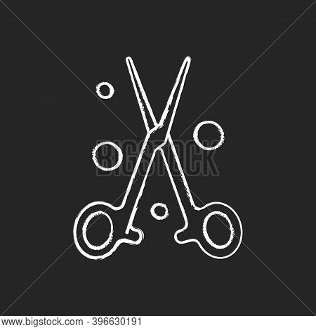 Forceps Chalk White Icon On Black Background. Handheld, Hinged Instrument. Manipulating Tissues And