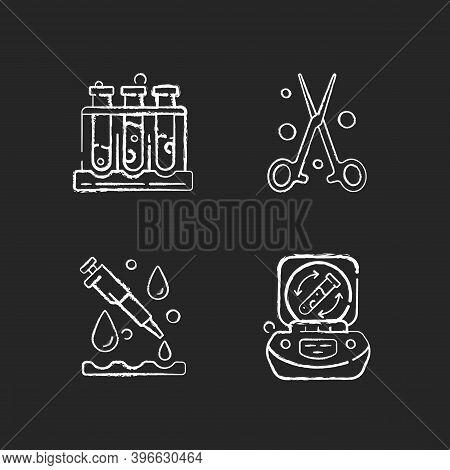 Laboratory Instruments Chalk White Icons Set On Black Background. Holding Upright Multiple Test Tube