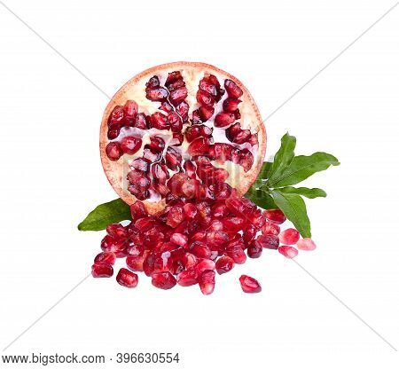 Fresh Pomegranate And Leaves Isolated On White Background Red Fruit High Vitamin A And  Anti-oxidant