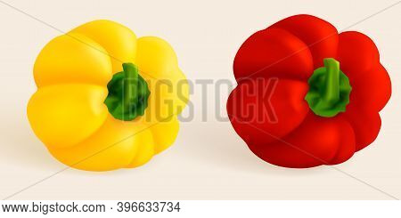 Capsicum Top View Paprika Isolated. Sweet Papper, Hungarian Pepper Cut And Whole. Capsicum Habanero