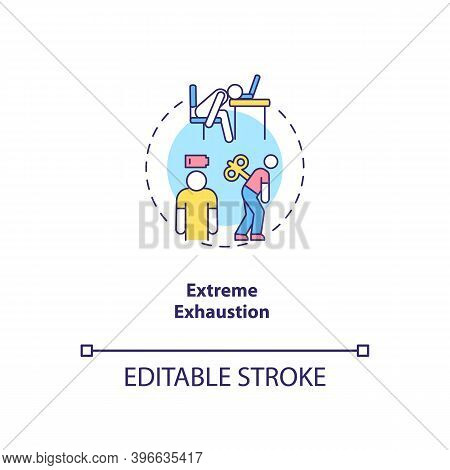 Extreme Exhaustion Concept Icon. Severe Fatigue Idea Thin Line Illustration. Cfs Symptom. Post-exert