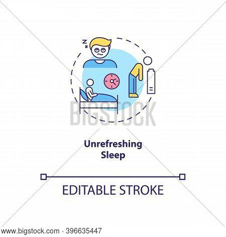 Unrefreshing Sleep Concept Icon. Cfs Symptom Idea Thin Line Illustration. Persistent, Excessive Fati