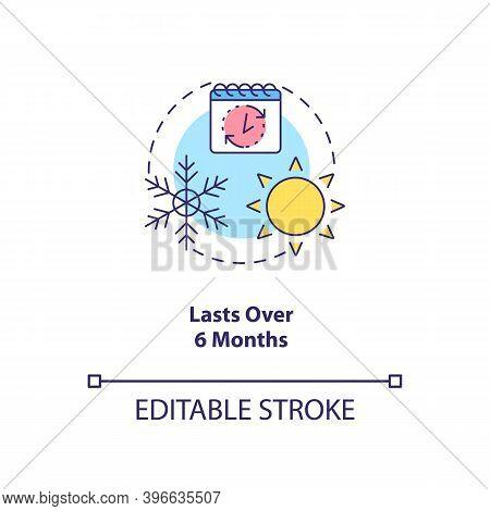 Lasts Over 6 Months Concept Icon. Cfs Symptom Idea Thin Line Illustration. Chronic Disease. Persiste