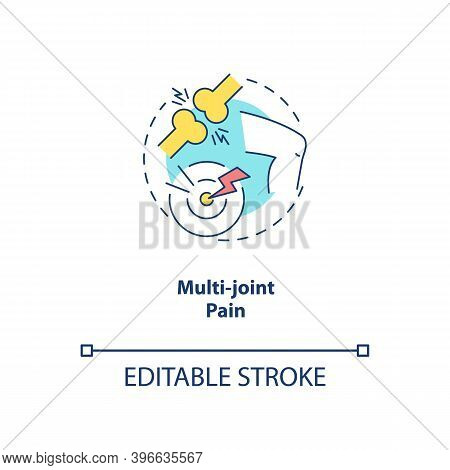 Multi-joint Pain Concept Icon. Cfs Symptom Idea Thin Line Illustration. Chronic Joint Disorder. Musc