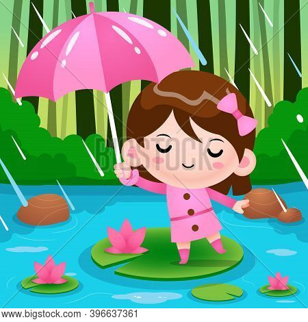 Illustration Vector Graphic Of Little Girl On Pond Hiding Under Umbrella During The Rain Weather. Pe