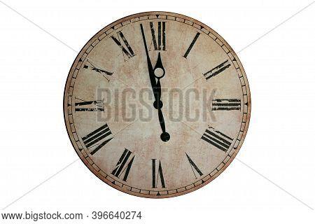 Midnight Wall Clock.wall Clock That Marks A Few Minutes To Midnight.