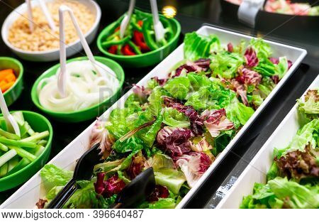 Salad Bar Buffet At Restaurant. Fresh Salad Bar Buffet For Lunch Or Dinner. Healthy Food. Fresh Gree