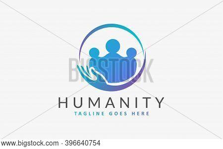 Social Care, Humanity People Logo Illustration. Flat Vector Logo Design Graphic Template. Graphic De