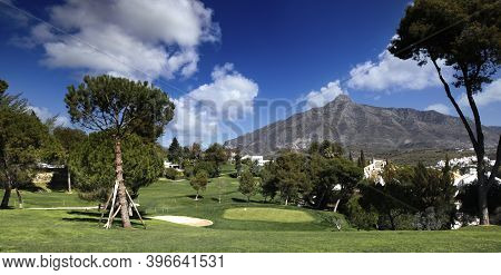 Golf Course  In Marbella, Spain, At Sunset
