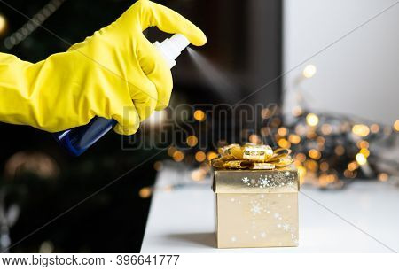 disinfecting a christmas gift box coronavirus prevention