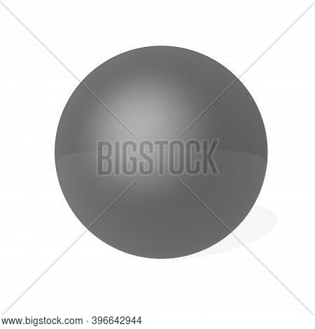Ebony Sphere With Little Shadow Isolated In White Background - 3d Render