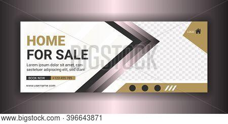 Home Sale Social Media Real Estate Facebook Cover Photo Template. Property Sale Web Banner. Timeline