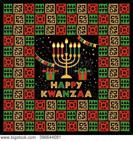 Banner For Kwanzaa With Traditional Colored And Candles Representing The Seven Principles Or Nguzo S