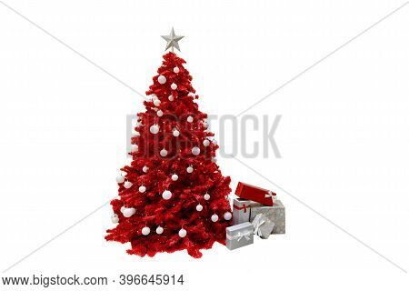 Red Christmas Tree With Gift Boxes Isolated On White Background