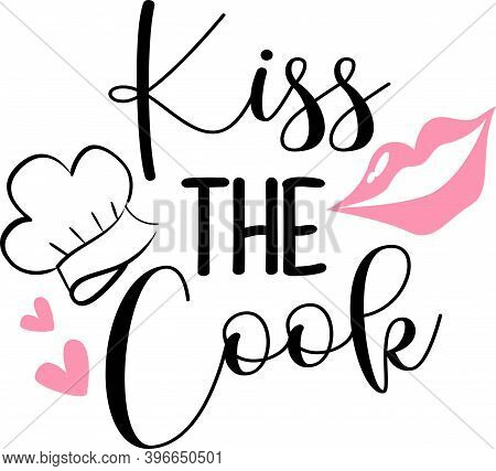 Kiss The Cook On The White Background. Vector Illustration