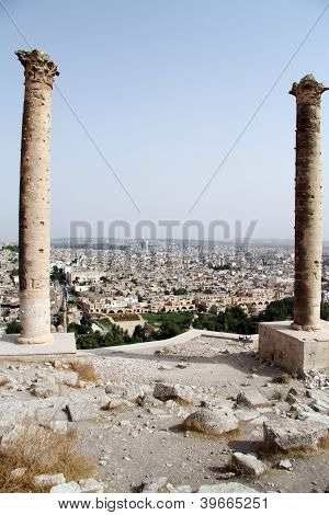 Two columns on the hill in Urfa Turkey poster