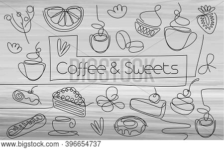 Coffee And Sweets Icon Set. Single Line Cake Sign. One Line Food Pattern. Hand Drawn Doodle Dessert.